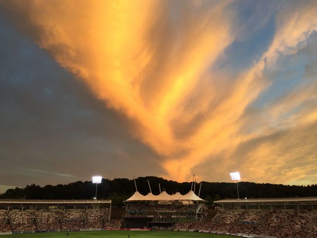 The Ageas Bowl EyeEmNewHere Hampshire  Cricket Match Cricket Stadium Cricket Ground Sky Cloud - Sky Nature Sunset No People Orange Color Plant Sport Dramatic Sky Beauty In Nature