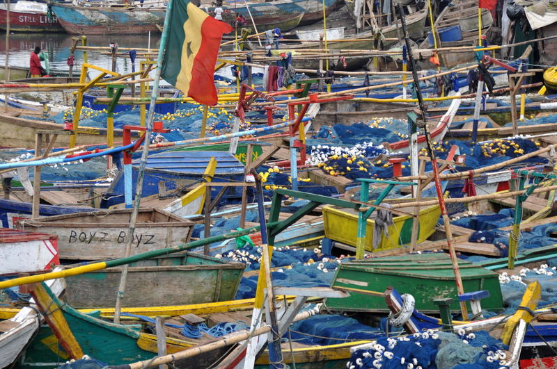 Multi Colored Fishing Boats Moored At Harbor