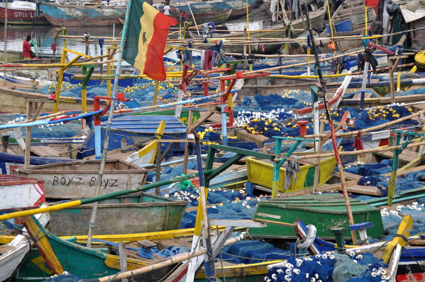 Fishing Boats in Elmina, Ghana Africa African Boat Colorful Developing Country Elmina Fishing Fishing Boat Fishing Boat Harbour Fishing Net Fishing Nets Fishing Village Flag Ghana Ghanaian Group Of Objects Harbor Harbour In A Row No People Outdoors Poor  Poor People  Poverty Rope