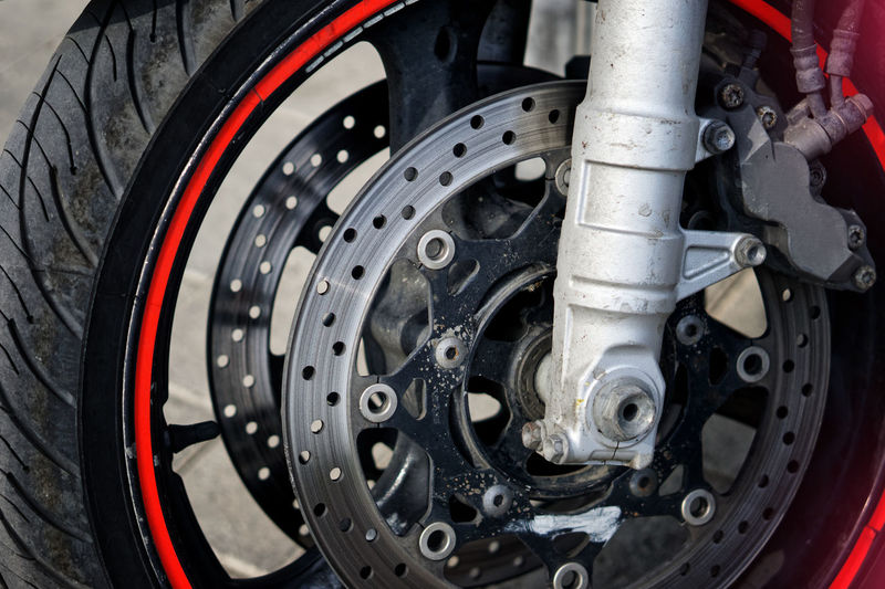 Close-up of motorcycle tire
