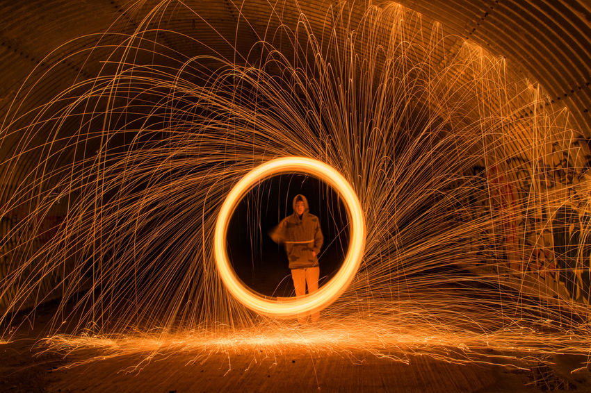 Long Exposure Night Motion Circle Heat - Temperature Burning Danger One Person Wire Wool Blurred Motion Glowing People Illuminated Adults Only Full Length One Man Only Adult Flame Performance Real People Break The Mold EyeEmNewHere TCPM Art Is Everywhere Cut And Paste