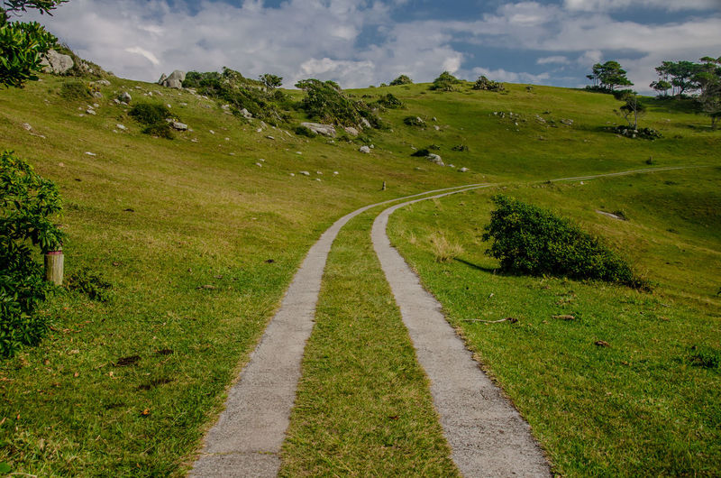 Mind Wandering Path Beauty In Nature Cloud - Sky Day Grass Green Color Landscape Mountain Nature No People Outdoors Road Scenics Sky The Way Forward Tranquil Scene Tranquility Transportation