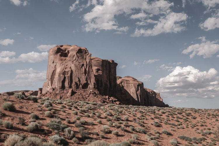 Rock formations on landscape against sky. monument valley