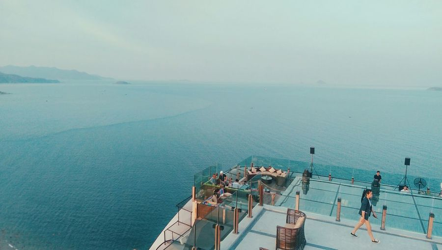High angle view of boat deck against sea