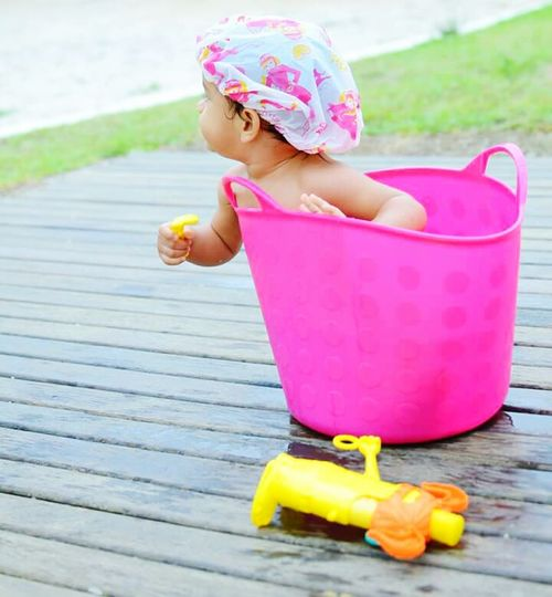 Shower Time Child Children Only One Person One Girl Only Outdoors Childhood Sand Pail And Shovel People Water Day Shower Scene Smashcake Smashthecake Session Portraits Swimming Pool Fun Multi Colored Summer
