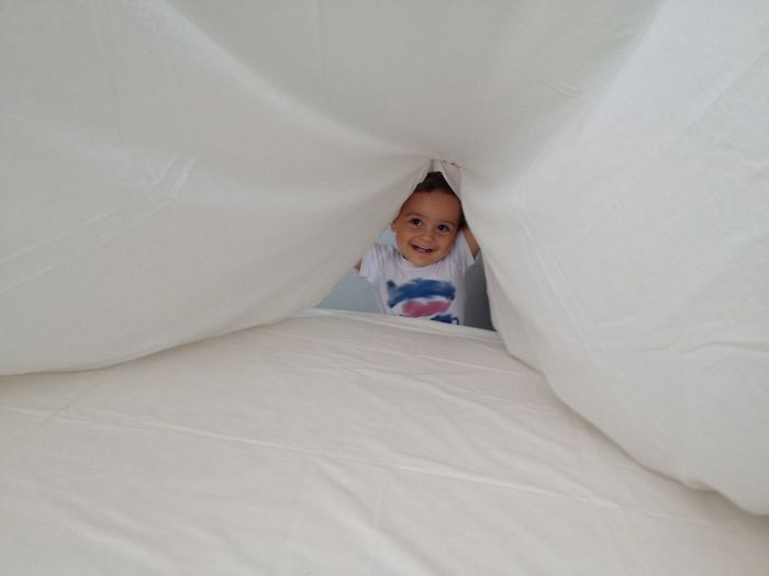 Portrait of boy looking through sheet at home