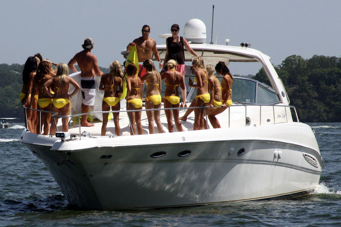 Bikini Blue Boat Day Fitness Journey Lake Of The Ozarks Leisure Activity Lifestyles Medium Group Of People Mode Of Transport Nature Nautical Vessel Outdoors Sailing Sky Tourism Tourist Transportation Travel Destinations Vacations Water Yellow Bikini