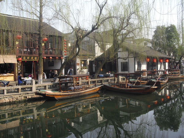 Architecture Boats Canal China Chinese Lanterns Day Outdoors Reflections Transportation Travel Destinations Trees Water Water Town Zhouzhuang