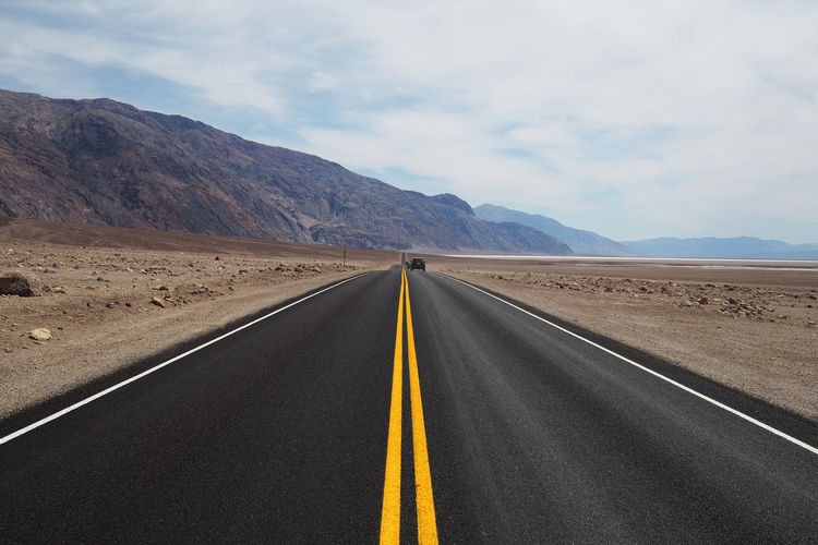 Empty road in inhabited area