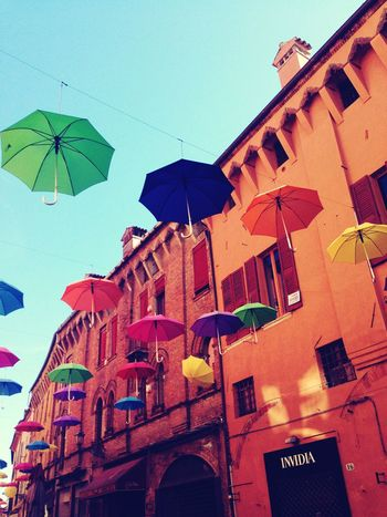 Ferrara Umbrella Sky Multi Colored Building Exterior Architecture City Low Angle View Travel Destinations Outdoors Built Structure No People Day