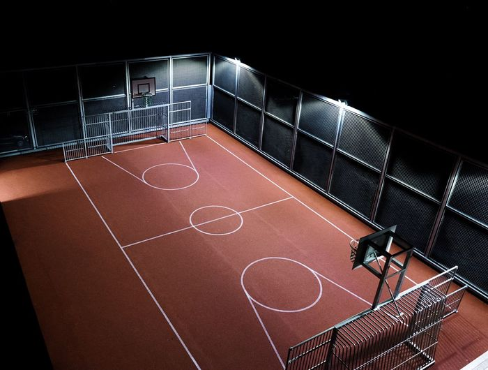 High angle view of illuminated basketball court