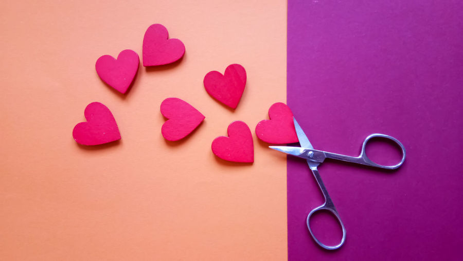 Directly above shot of heart shapes on colored background
