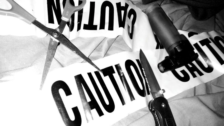 Industrial Caution Caution Tape Caution Colors Careful Proceed With Caution Randomness What's On My Bed Lighter Scissors Knife Pocket Knife Folding Knife Sharp Objects Wrap Butanelighter Torch EyeEm Gallery Black And White Photography EyeEm No Subject Humble, Texas Fall Creek, Humble,Texas Houston