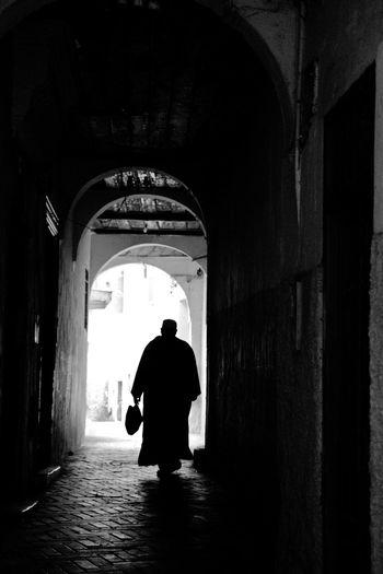 Tangier City Medina Old Man Walking Alone... Blackandwhite Mystical Street Darkness And Light Just Around The Corner