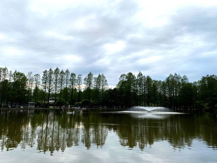 Reflection of trees in lake against cloudy sky