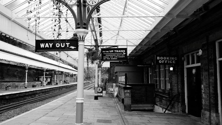 I Love My City I could have posted this in colour but when you are at this beautifully maintained railway station it almost feels like you are living in a black and white photograph! Monochrome Public Transportation Commuting Town Train Station Railwaystation Railway Signposts Learn & Shoot: Leading Lines