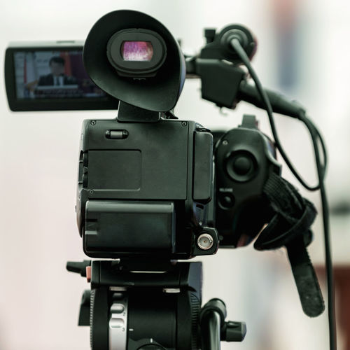 Close-up of television camera