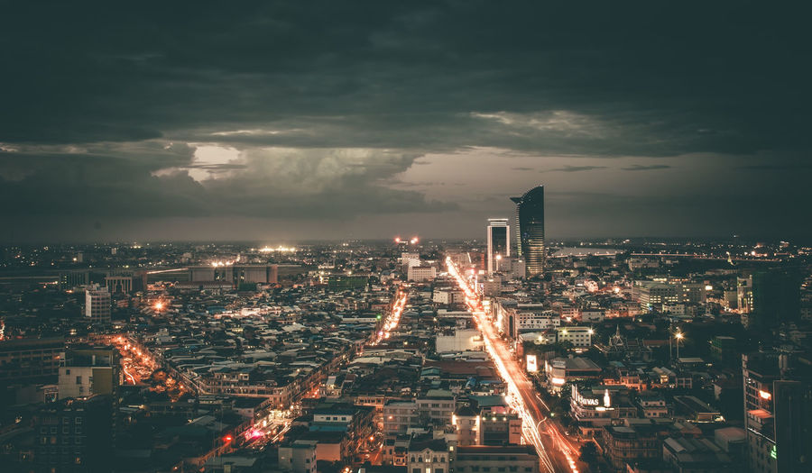 Phnom Penh Night from Top view Achitecture Amazing Building Exterior Business Finance And Industry Cambodia City Cityscape Eclipse Epic Khmer Long Exposure Nightscape Phnom Penh Skyscraper Street Travel Destinations