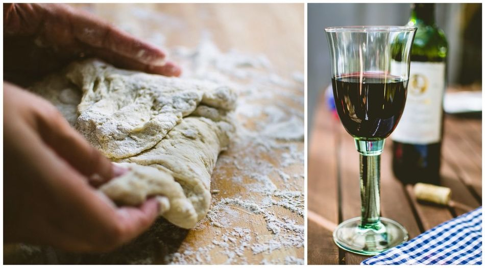 Collage of person kneading dough and wineglass