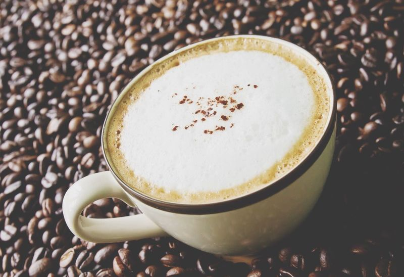 Cappuccino Coffee - Drink Coffee Cup Drink Food And Drink Refreshment Cup Frothy Drink Cappuccino Espresso Still Life Roasted Coffee Bean Freshness Latte Indoors  Table Saucer No People Close-up Mocha Cafe