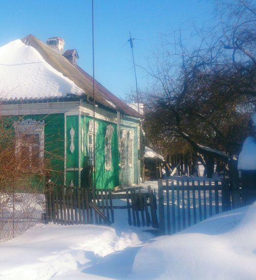 Деревенский дом. Село Телебукино. Architecture Landscape архитектура пейзаж наличники Wooden Snow Sky Country House Countryside