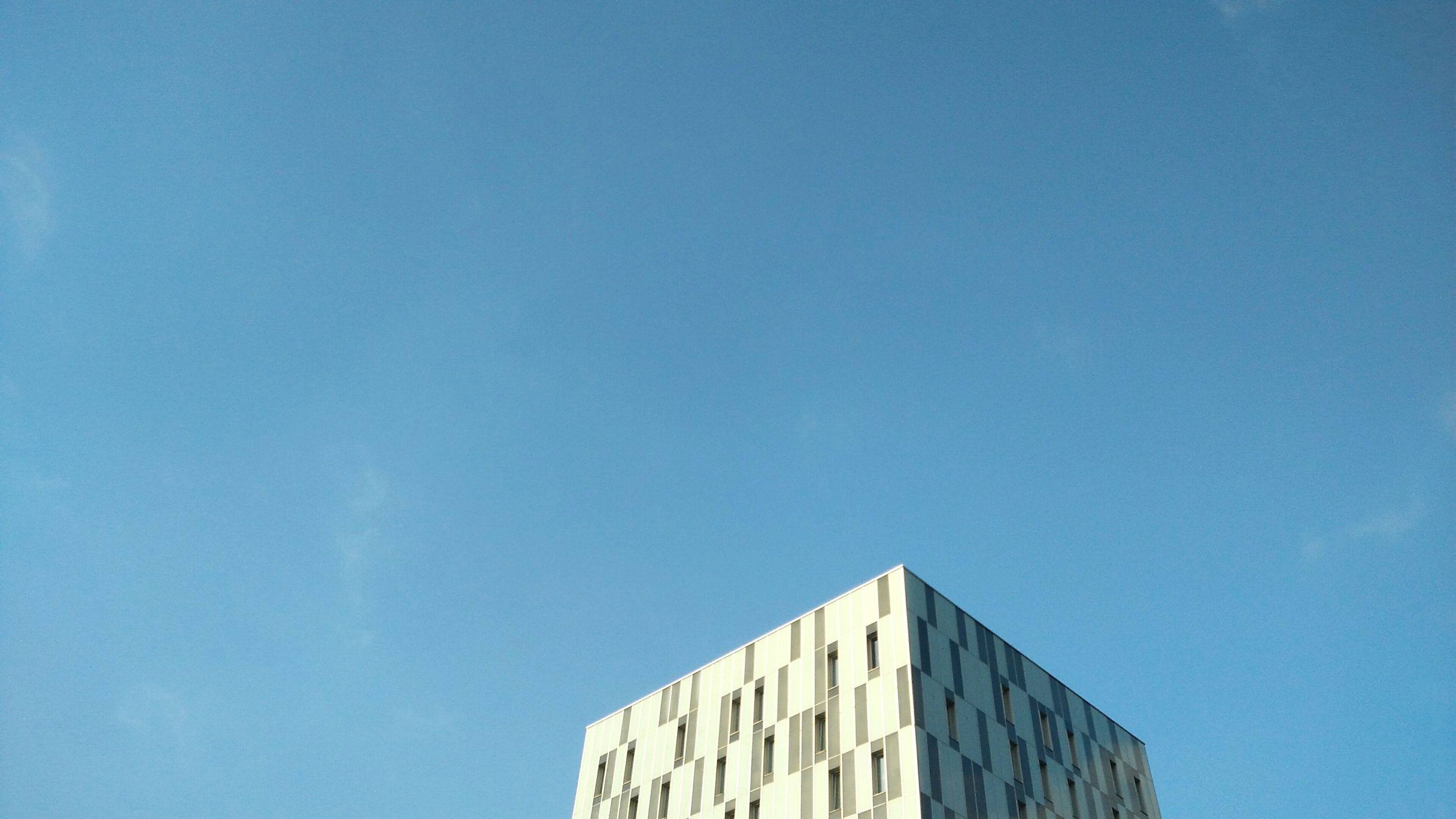 architecture, built structure, blue, low angle view, building exterior, no people, clear sky, day, outdoors, sky
