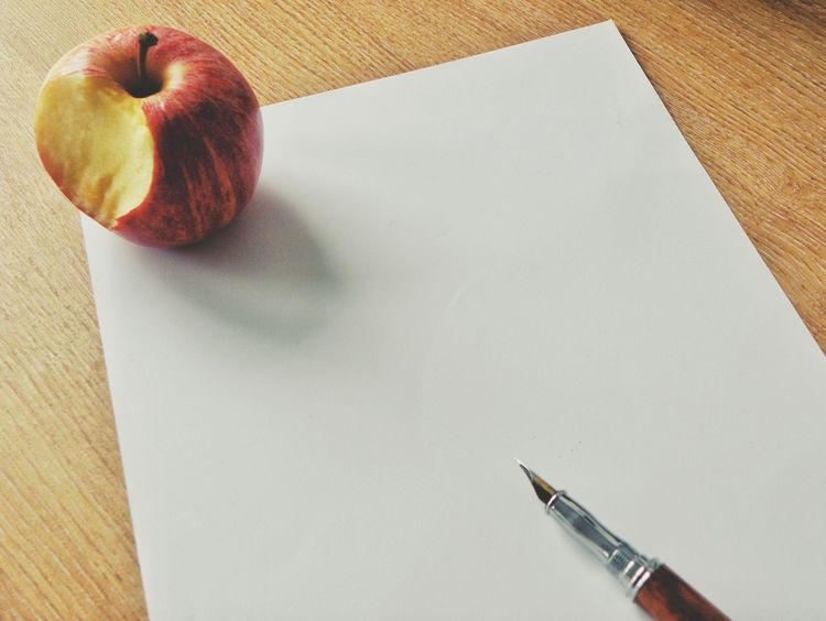 Indoors  Paper No People Close-up Day Apple Pen Fountain Pen Paper Sheet Ready To Write Writting Writer Bitten Apple Red Apple Table Blank Paper Note Blank Space Copy Space Light