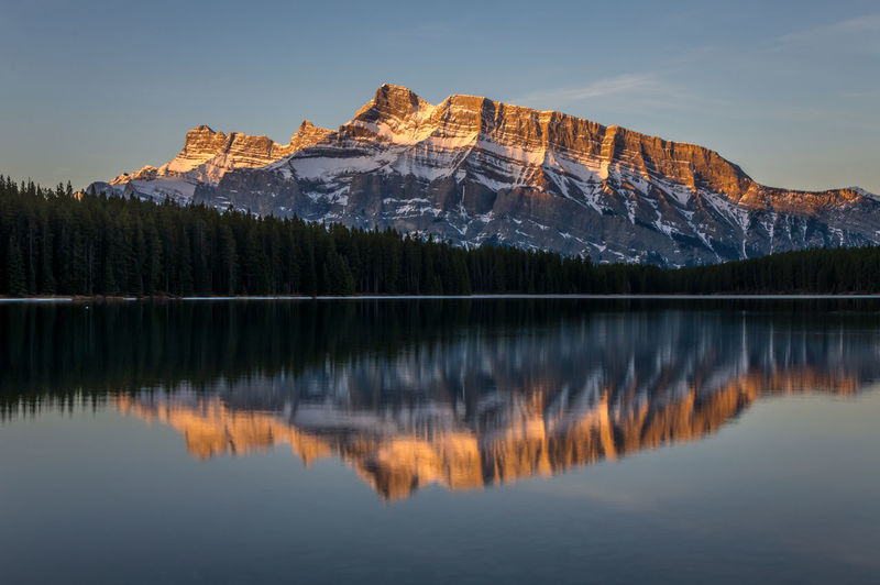 Scenic reflection of rocky mountain in lake