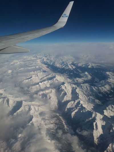 Airplane Aerial View Aircraft Wing Flying Transportation Business Finance And Industry Cloud - Sky Landscape Scenics Nature KLM Beauty In Nature Miles Away Outdoors No People Day Sky Aerospace Industry Transportion Transport Transportation Airline Alps Italy