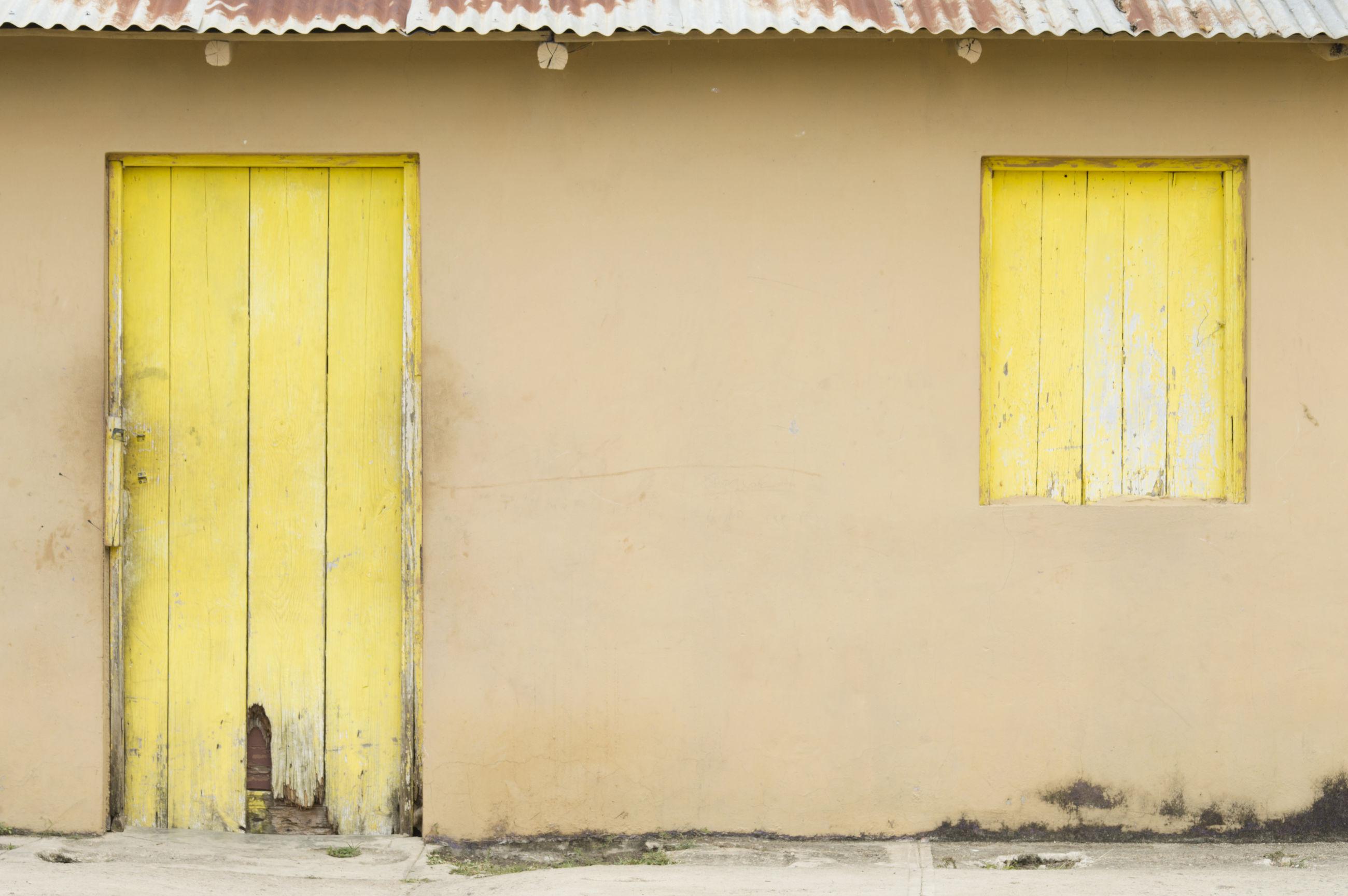door, architecture, built structure, yellow, entrance, building exterior, doorway, no people, day, open door, outdoors