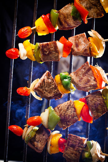 Close-up of multi colored vegetables on barbecue grill