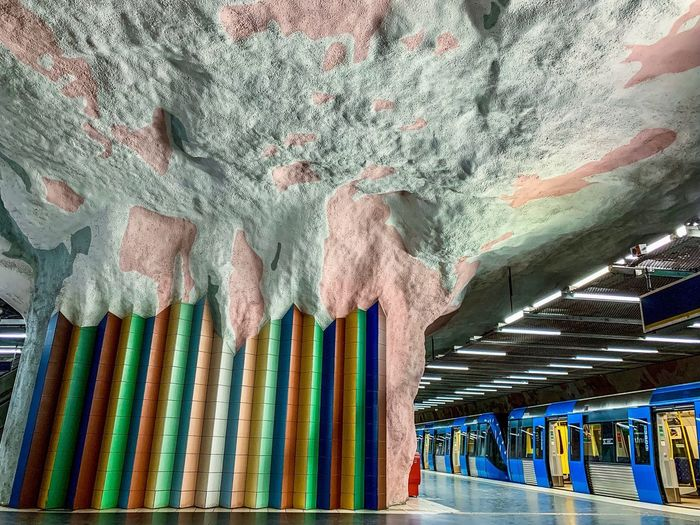 Stockholm Metro Metro Metro Station Underground Station  Art Architecture Sweden Stockholm ShotOnIphone Decoration Built Structure Architecture Pattern No People Multi Colored Indoors  Ceiling Floral Pattern