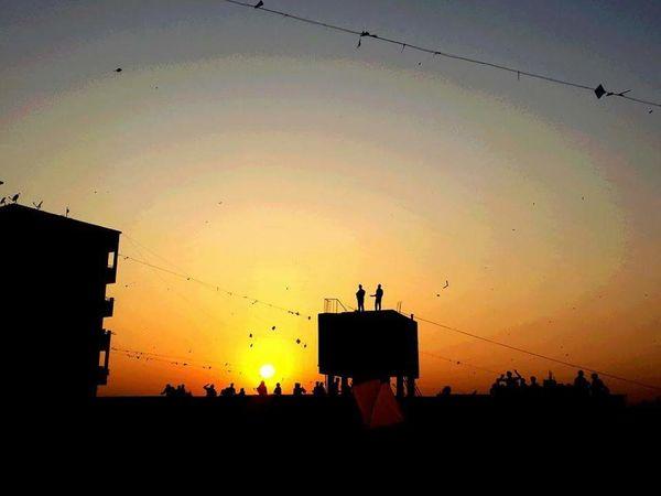 Original Kiteflyingday Nofilter Outdoors Terrace Sunset 2014 Ahmedabad India Mobilephotography