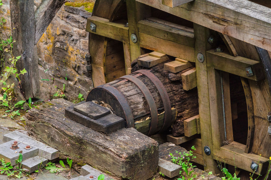 Reconstituted and restored mill wheel of an old water mill in Germany. Agriculture Mill Wheel Day No People Outdoors Reconstruction Water Wheel Watermill Watermills Wood - Material