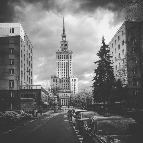 Architecture Architecture Blackandwhite Building Exterior Buildings Built Structure Car City Cloud - Sky Downtown IPhone IPhoneography Land Vehicle Palace Of Culture And Science In Warsaw Poland Sky Sky And Clouds Skyporn Skyscraper Street Stunning Transportation Warsaw Warszawa  Waw
