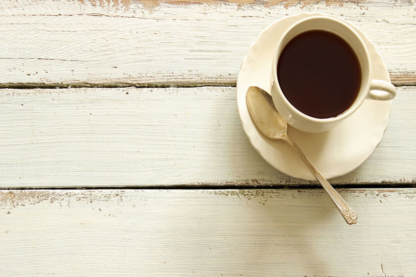 Coffee Background Close-up Coffee - Drink Coffee Cup Concept Cup Drink Food And Drink Kitchen Table No People Open Space Overlay Refreshment Rustic Table Teaspoon Template Vintage Weathered Wood White Wood - Material Wood Table