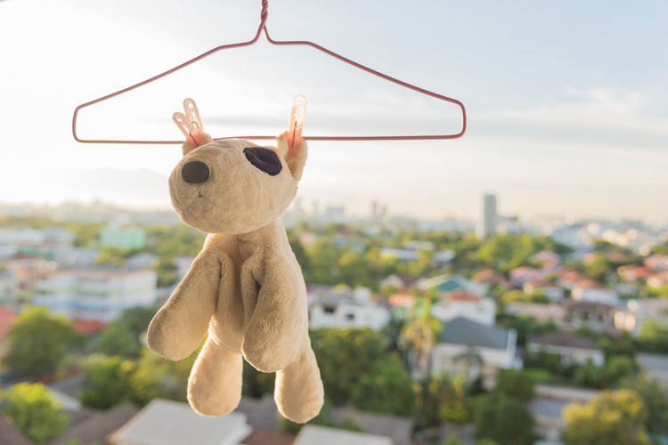 Close-up of stuffed toy hanging on coathanger against sky