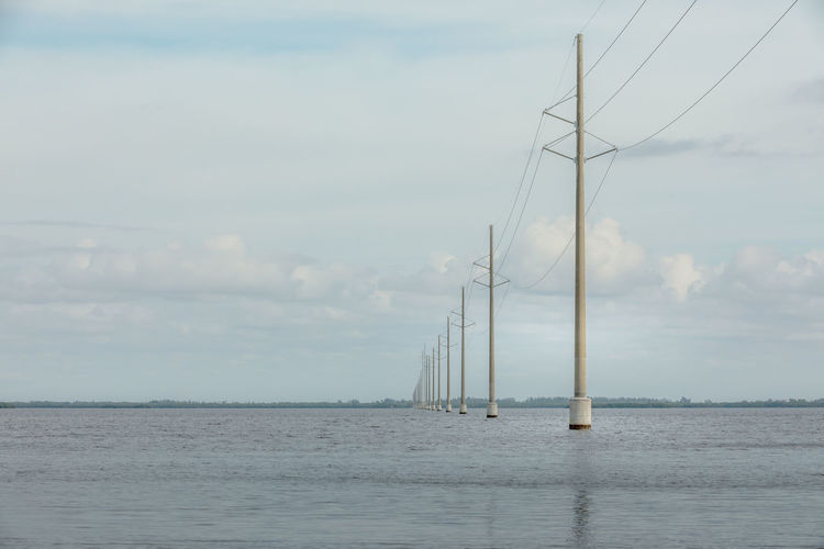 Electricity  Electricity Pylon Water Sky Sea Beauty In Nature Scenics - Nature Waterfront Cloud - Sky Nature Day Tranquil Scene Tranquility Fuel And Power Generation No People Outdoors Cable Connection Electricity  Non-urban Scene Horizon Over Water Power Supply Sailboat