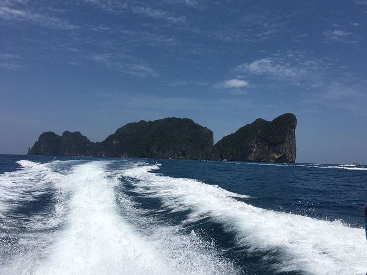 Sea Trail Speed Boat Beauty In Nature Rock Formation Tranquil Scene Wave White On Blue Phi Phi