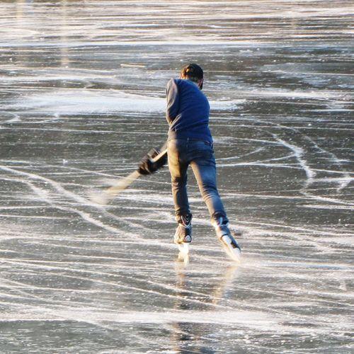 Fun On The Ice Ice Hockey Fast Sport Park Warande Helmond Wintertime Frozen Lake Blurred Movement Action Photo Sunshine Afternoon Sun Winter Sports Reflections Ice Sports Leisure Activity Ice Skating Sport
