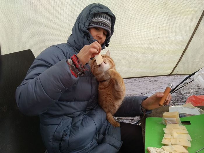 Cheese Eating EyeEm Selects Warm Clothing Human Hand Holding Sitting Cat Domestic Cat Pets Hood - Clothing