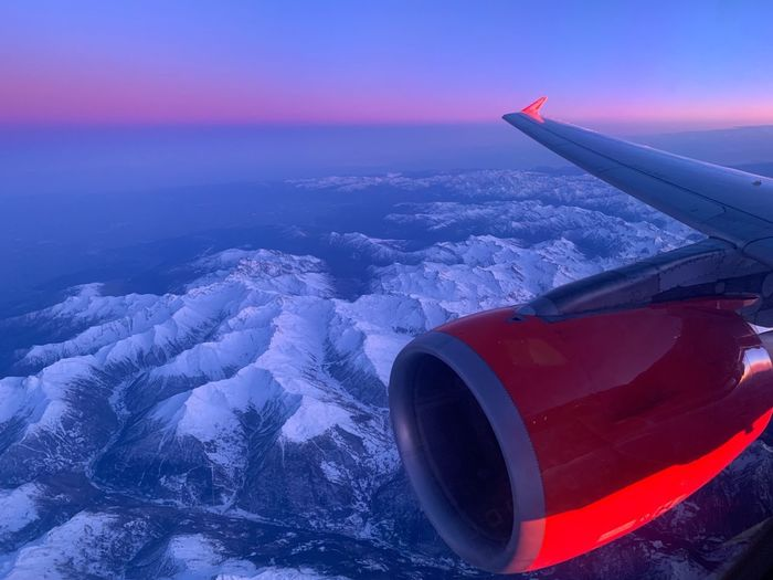 Airplane View Flight Air Vehicle Airplane Mode Of Transportation Beauty In Nature Transportation Scenics - Nature Sky Aircraft Wing Aerial View Travel Mid-air Snow Winter Tranquil Scene Flying No People Engine Cold Temperature Idyllic Nature