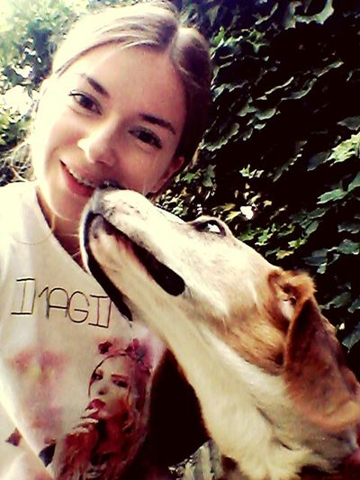 Me With My Dog I Love My Dog Siamo Bellissimi. In Garden Summer2015 Beautiful Day Dog Beagle Beaglelovers Smile :)