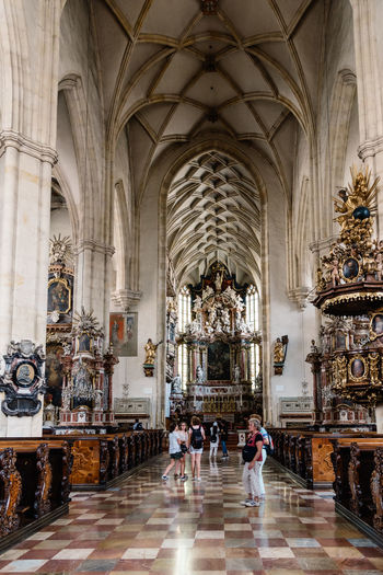 Interior view of Cathedral of Graz Austria Cathedral City Graz Travel Altar Arch Architecture Austrian Day Famous Place Group Of People History Indoors  Interrior Landmark Nave Old Buildings People Place Of Worship Religion Spirituality Styria Travel Destinations