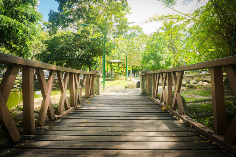 Beauty In Nature Bridge - Man Made Structure Day Footbridge Nature No People Outdoors Railing Sky Summer Tree Wood - Material