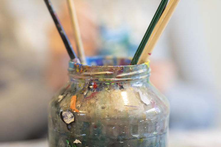Close-up of glass jar