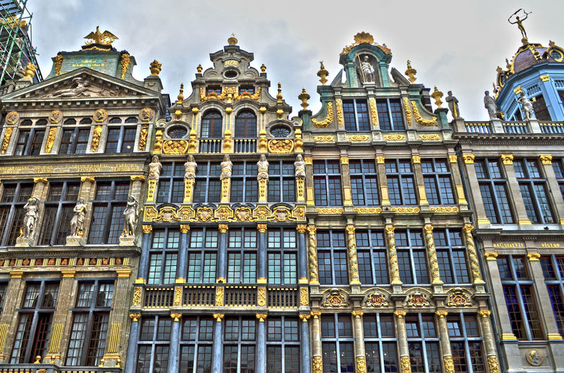 Architecture Architecture Belgio Belgium Brussels Building Exterior Built Structure Capital Cities  City City Life Cloud Day Europe Gold Grand Place Grand Place Bruxelles Grandplace Historic Low Angle View No People Ornate Place Square Tourism Window
