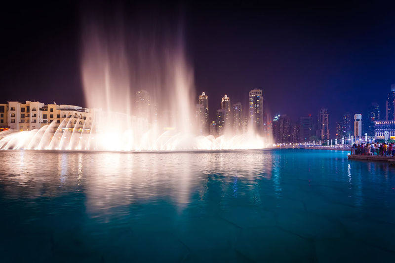 Marina Dubai Architecture Water Night Building Exterior Built Structure City Illuminated Reflection Travel Destinations Fountain Sky No People Nature Waterfront Long Exposure Office Building Exterior Travel Spraying Skyscraper Cityscape Luxury