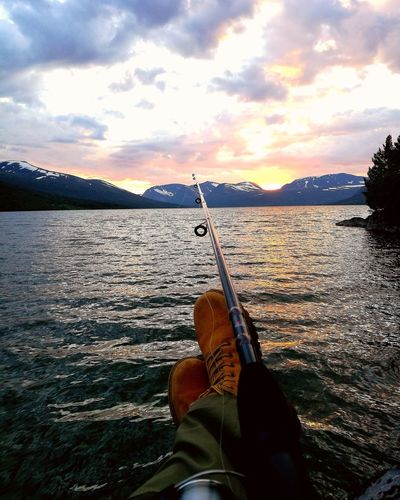 Fishing🐟 Outdoors Water Nature Cloud - Sky Sunset Fishing Fishermen's Life First Eyeem Photo