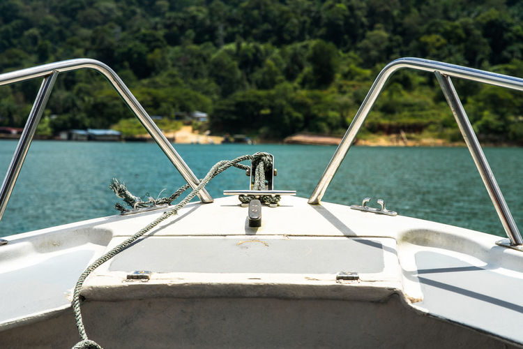 Beautiful view from a bow of yacht at the lake.